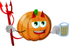 Devil pumpkin holding beer Royalty Free Stock Photos