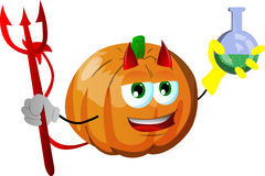 Devil pumpkin holds beaker of chemicals Stock Photography