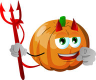 Devil pumpkin pointing at viewer Royalty Free Stock Image