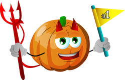 Devil pumpkin sports fan with flag Royalty Free Stock Images