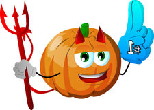 Devil pumpkin sports fan with glove Royalty Free Stock Image