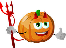 Devil pumpkin with thumb up Stock Photography