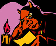 Devil reads the letter. Picture devil is reading a letter by candlelight Stock Photos