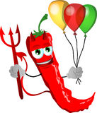 Devil red hot chili pepper with balloons Stock Images