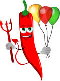 Devil red hot chili pepper with balloons Royalty Free Stock Photography