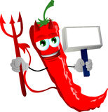 Devil red hot chili pepper with blank board Stock Photos