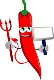 Devil red hot chili pepper with blank board Royalty Free Stock Photo
