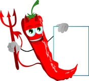 Devil red hot chili pepper with blank board Stock Image
