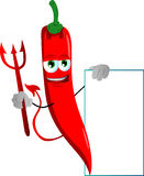 Devil red hot chili pepper with blank board Stock Photography