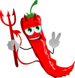 Devil red hot chili pepper gesturing the peace sign Stock Image