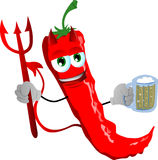 Devil red hot chili pepper holding beer Stock Photography
