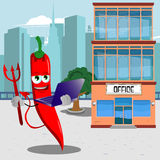 Devil red hot chili pepper holding laptop in front of an office building Stock Photography