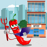 Devil red hot chili pepper holding laptop in front of an office building Stock Photo