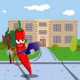 Devil red hot chili pepper holding laptop in front of a school Royalty Free Stock Photos