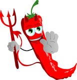 Devil red hot chili pepper holding a stop sign Stock Photo