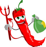 Devil red hot chili pepper holding strong drink Royalty Free Stock Photo