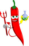 Devil red hot chili pepper holds beaker of chemicals Royalty Free Stock Image