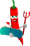 Devil red hot chili pepper with skateboard Royalty Free Stock Photo