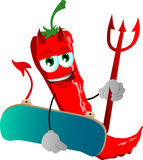 Devil red hot chili pepper with skateboard Royalty Free Stock Images