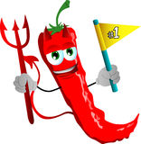 Devil red hot chili pepper sports fan with flag Stock Photos