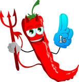 Devil red hot chili pepper sports fan with glove Stock Images
