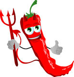 Devil red hot chili pepper with thumb up Royalty Free Stock Image