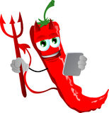Devil red hot chili pepper using a tablet Stock Image