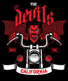 Devil rides the motorcycle Stock Images