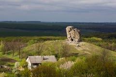 Devil rock in Pidkamin, Lviv region, West Ukraine summer landscape. Devil rock in Pidkamin, Lviv region, West Ukraine royalty free stock photography