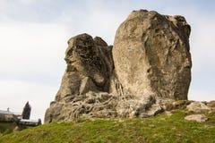 Devil`s rock in Pidkamin, Lviv region, West Ukraine summer landscape. Devil rock in Pidkamin, Lviv region, West Ukraine summer landscape royalty free stock photo