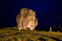Devil rock in Pidkamin, Lviv region, West Ukraine summer landscape. Night view Devil rock in Pidkamin, Lviv region, West Ukraine stock photos