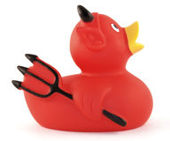 Devil Rubber Ducky. Generic devil rubber ducky isolated on white. There are no trademark, copyright or company names listed on this duck stock image