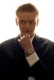 Devil's advocate. Silhouette portrait of elegant business man royalty free stock photo