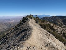 Devil's Backbone Mt Baldy. Devil's backbone trail on top of 10,064 foot Mt. Baldy above Los Angeles California Royalty Free Stock Photo