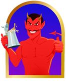 The Devil's Brew. Satanic figure with a stein of ale, he approves with a thumbs up Stock Images