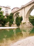 Devil's Bridge. Bridge crossing the Natizone River into Cividale.  Legend states the rock the bridge is built on was thrown in the river by the Devil.  Built in Royalty Free Stock Photo