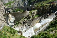 Devil's bridge at St. Gotthard pass Stock Photography