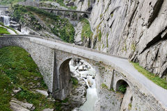 Devil's bridge at St. Gotthard pass royalty free stock images