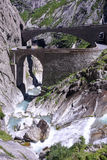 Devil's bridge at St. Gotthard pass on the Swiss alps Stock Photo