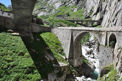 Devil's bridge. St. Gotthard pass, Switzerland Stock Photo