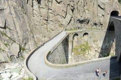 Devil's bridge at St. Gotthard pass stock image