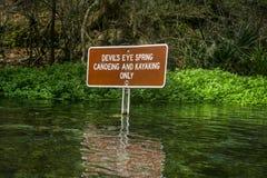 Devil's Eye Spring Sign - Ichetucknee River Stock Photography