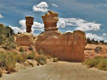 Devil`s Garden Sandstone Formations. Sandstone formations are scattered throughout Devil`s Garden, a wilderness study area in Grand Staircase-Escalante National Royalty Free Stock Image