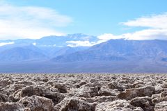 Devil`s Golf Course in the Death Valley stock images