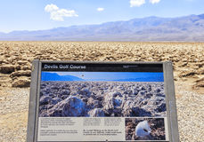 Devil's Golf Course information board, USA Stock Image