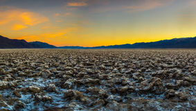 Devil`s Golf Course. Looking South Along Devil`s Golf Course At Sunset, Death Valley National Park, California stock images
