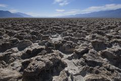 The Devil's Golf Couse, Death Valley, CA. Blocks of extruded salt make for difficult golfing Stock Image