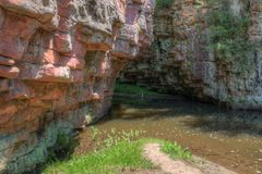 Devil`s Gulch is located By Garretson, South Dakota and is where Famous Outlaw Jesse James jumped across.  royalty free stock photography
