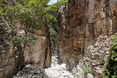 The Devil`s Hallway in the Guadalupe Mountains National Park. This is the Devil`s Hallway in the Guadalupe Mountains National Park, Texas stock photo