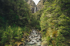 Devil`s Punchbowl Waterfall in the Arthur`s Pass National Park, New Zealand Royalty Free Stock Image